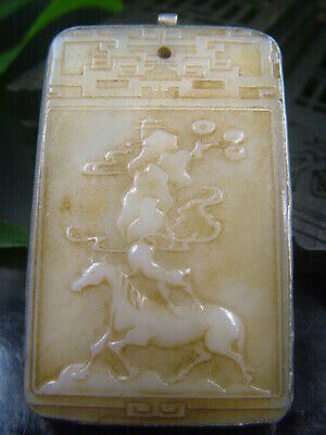 Chinese Antique Celadon Nephrite Hetian-OLD-Jade Hollow Horse Statues/Pendant