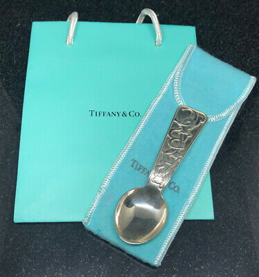 Tiffany & Co. Sterling Silver ABC Bears Baby Spoon W/ Pouch & Bag