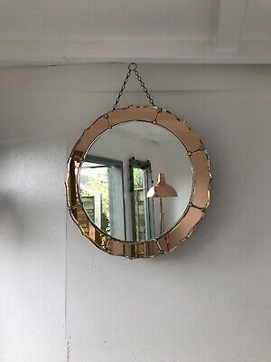 Vintage Retro Art Deco Round Frameless Peach Panel Edge Mirror Peach