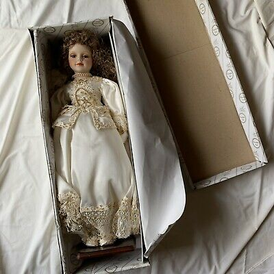 Porcelain Doll Brunette With Ivory Beaded Dress *Excellent condition*