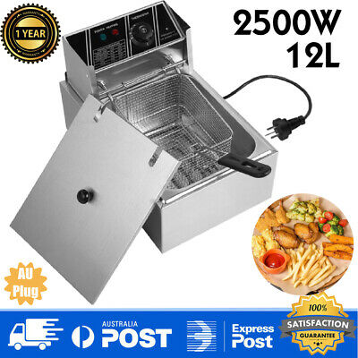 12L Electric Deep Fryer Countertop Stainless Steel Tabletop Tank Frying Basket