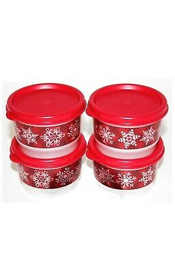 New TUPPERWARE Snack Cups Set of 4 Containers w/Seals FREE US SHIP