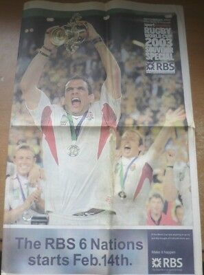 Rugby World Cup Final 2003 Review Newspaper Souvenir (The Daily Telegraph).