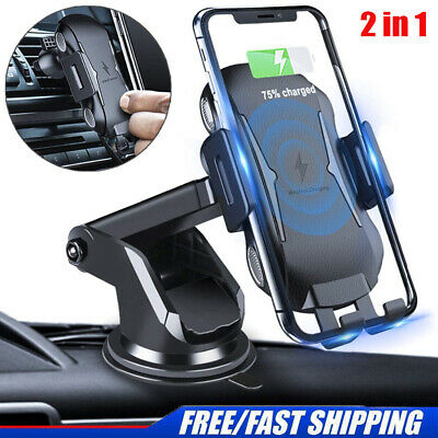Fast Charging Wireless Car Charger Mount Dashboard Dash Air Vent Phone Holder A