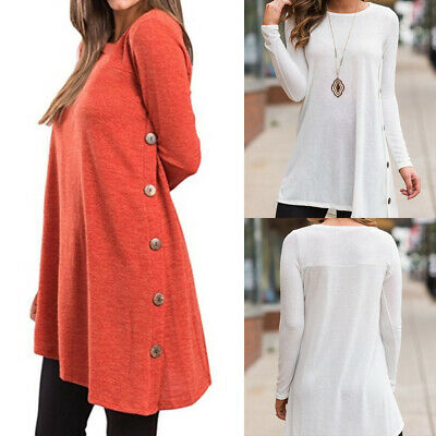 Womens Baggy Long Sleeve Tunic Tops Blouse Ladies Button Jumper Pullover T Shirt
