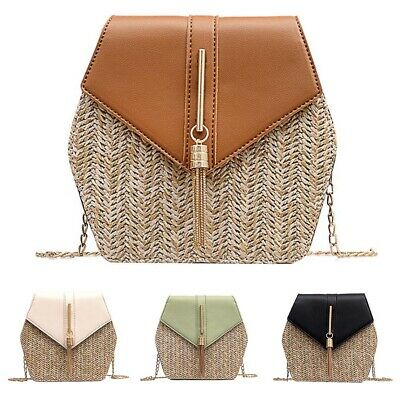 Fashion Women Tassel Faux Leather Patchwork Straw Crossbody Shoulder Bag Deluxe