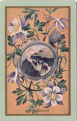 1 Playing Swap Card Vintage Usnn - Columbine - Flowers Pack Horses Donkey
