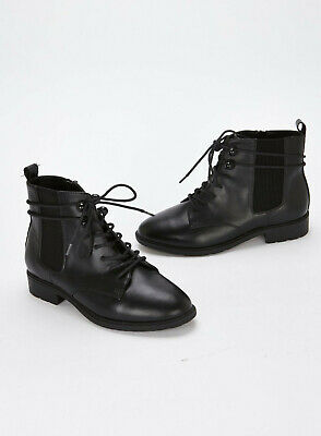 Evans Extra Wide Fit Black Lace Up Boots - BNWT - Size 7EEE