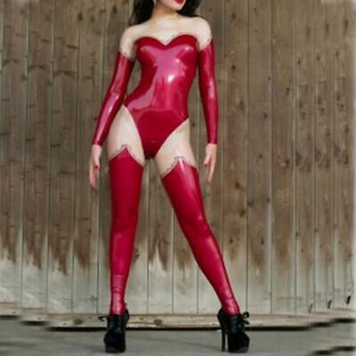 Latex Rubber Catsuit Sexy Rot&Durchsichtig Tights Full Bodysuit Cosplay S-XXL