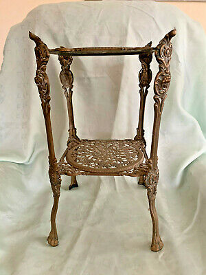 Vintage Brass Two Tier Plant Pot Trivet Stand With Cherub & Lion Paw Detail