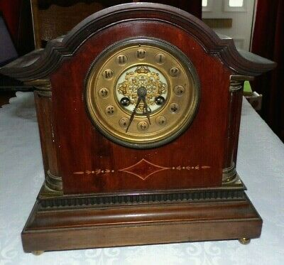 Antique JAPY FRERES Inlaid Mahogany Cased Mantel Clock, Spares/Repair