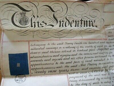 Two Antique Victorian 1876 Vellum Lease Indentures West Thurrock Essex