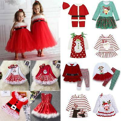 Kids Toddler Girls Red Christmas Xmas Santa Claus Party Tulle Dress Fancy Outfit