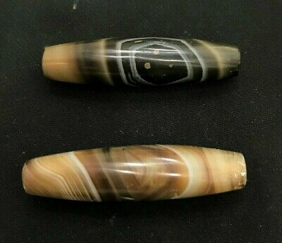 ancient rare indo- tibetan banded sulaimani agate beads