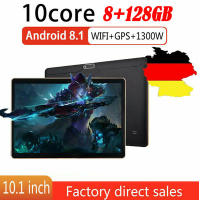 10.1 ZOLL Tablet Android8.1 Bluetooth PC 8+128G ROM 2SIM GPS Phone Pad IPS DE