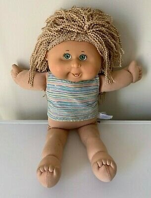 2004 Cabbage Patch Kids Play Along Doll blonde hair green eyes wool hair