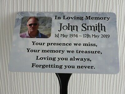 Memorial Plaque Personalised Photo Grave Marker Metal Ground Stake Spike