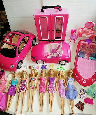 Barbie Bundle Dolls Beetle Car Speed Boat Wardrobe Clothes Convertible Pink Lot