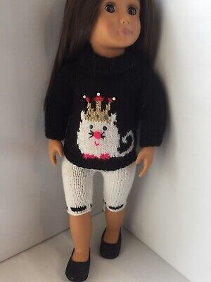 Hand Knitted Party Cat Jumper Leggings Shoes 18 inch Our Generation Doll