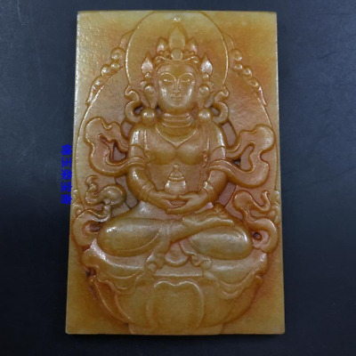 """3"""" Chinese Natural handcarved old antique hetian jade guanyin Buddha Pendant"""