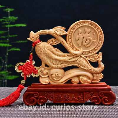 Chinese Pretty Cedar Wood Hand-carved Ruyi Ginseng Auspicious Statue Ornament 福