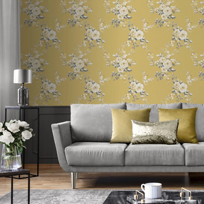 Catherine Lansfield Canterbury Yellow and Grey Floral Ochre Wallpaper 165501