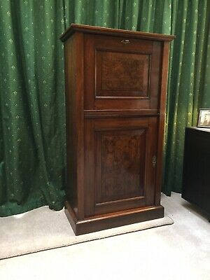 Burr Walnut Bureaux Drinks Cabinet - lovely proportions