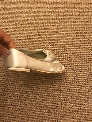 Girls white party girls shoes size 12 Sateen Flat