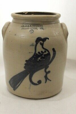 "Antique Primitive Salt Glazed Stoneware ""EARLY BIRD crock o.l.& a.k. Ballard. Vt"