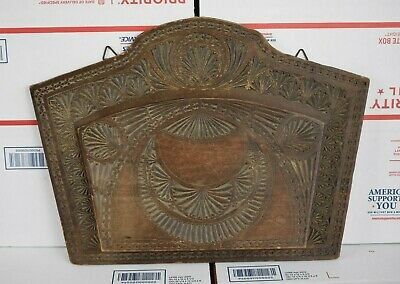 Antique Tramp Art Carved Wood Letter Box Mail Box Storage Magazine Wall Mount