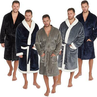 Mens Super Soft Dressing Gown Bath Robe Luxury Brushed Fleece Warm Snuggle Cosy