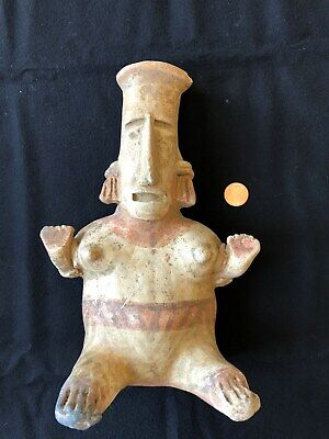Pre-Columbian Jalisco Seated Female Figure, 100 BC - 250 AD,  LARGE AND NICE!