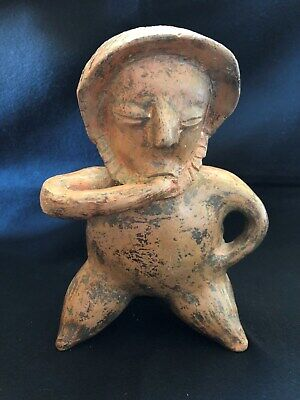 "Pre-Columbian Nayarit ""Smoker""  Figure, 100 BC - 250 AD,  LARGE & NICE!"
