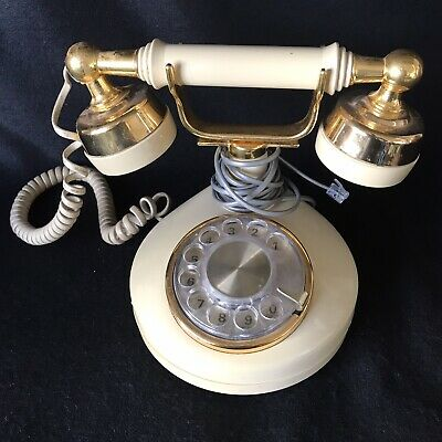 Vintage Western Electric Rotary Dial Telephone Gold Cream Ivory Princess
