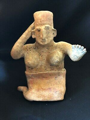 Pre-Columbian Jalisco Seated Female Figure, 100 BC - 250 AD,  LARGE & NICE!