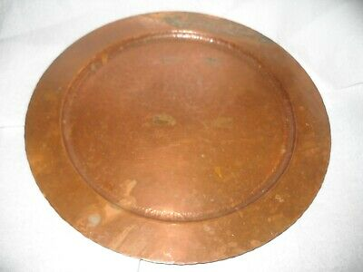 """Antique 1930's The Avon Copper Smith 12"""" Round Hand Wrought Solid Copper Tray"""