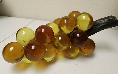 """Vintage Acrylic Lucite 20 Grape Cluster  Driftwood Gold & Amber Mid Century 12"""""""