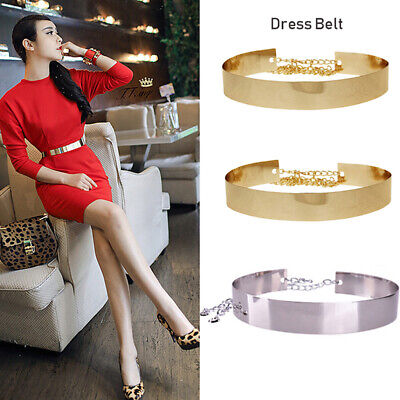 Women's All Metal Waist Mirror Wide Gold Silver Fashion Wide Belt Waist Chain
