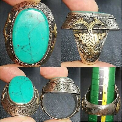 Silver wonderful afghan turquoise stone lovely old Ring # 28