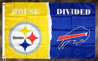 Pittsburgh Steelers vs Buffalo Bills House Divided Flag 3x5 ft Sports Banner