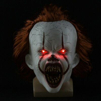2019 Halloween Pennywise Mask It Chapter Two Cosplay Scary Joker Mask Props LED