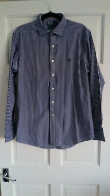 mens polo ralph lauren NAVY striped long sleeved shirt L 100% COTTON CUSTOM FIT