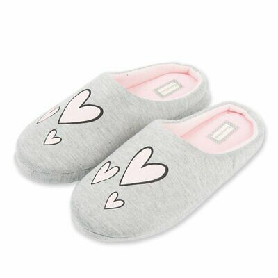 Gray Heart House Slippers In/Outdoor Rubber Sole - WOMEN'S SIZE US 7.5-10.5