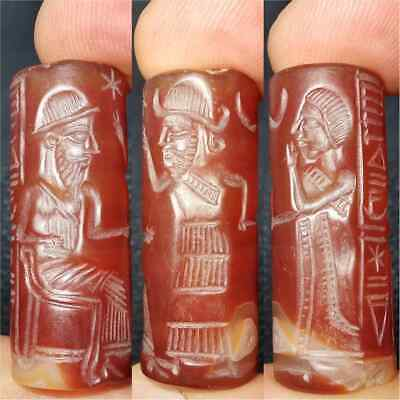 Unique Wonderful Old Inscription Agate stone Sassanian King BEAD   #28