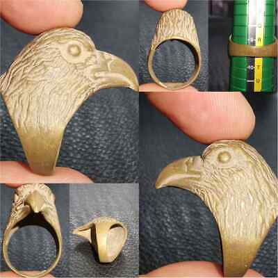 Near Eastern Wonderful Eagle Head Bird Stunning Brass Ring   #28