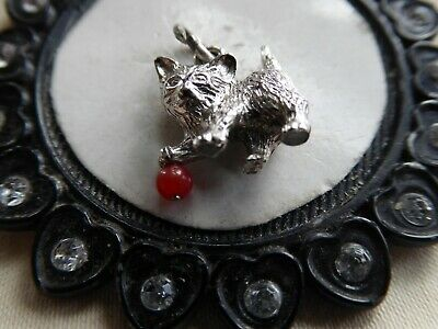 Vtg Sterling Charm Textured Kitten Playing With Red Bead Ball