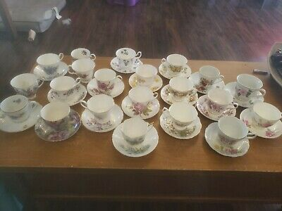 Vintage Bone China Tea Cups and Saucers Huge Lot Various Makers Excellent Condit