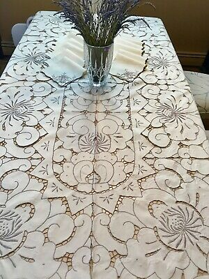 Vintage Elegant Madeira, Richelieu Tablecloth HUGE 60 X 100+12 Napkins, QUALITY