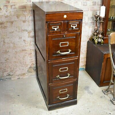 Antique Edwardian Mahogany Filing Cabinet Bank of Drawers Home Office Storage