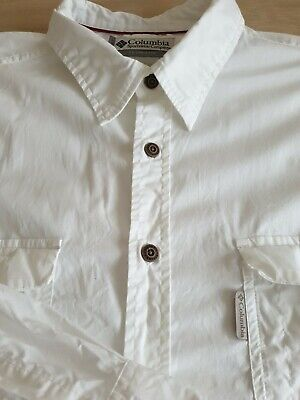 Columbia Mens Large Stunning White Stretch Fit Longsleeve Shirt